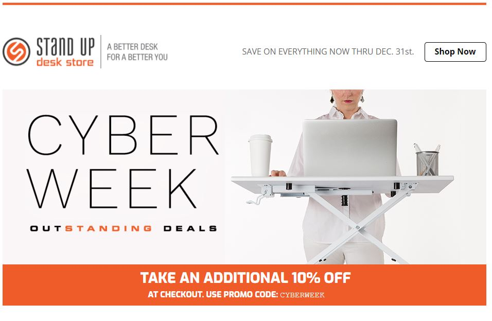 Stand up desk store cyber week